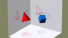 Descriptive geometry 3D projection seamless loop video Stock Footage