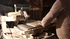 Worker Hands Cutting The Ceramic Tile By Circular Saw Stock Footage