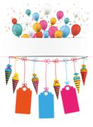 Candy Cones Banner Balloons Price Stickers Letters Stock Illustration