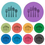 Color cutlery flat icons Stock Illustration