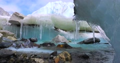 River at Everest Base Camp on the glacier Khumbu, Nepal Himalayas. Stock Footage