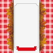 Autumn Foliage Checked Blanket Paper Banner Ribbon Stock Illustration