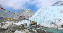 River at Everest Base Camp on the glacier Khumbu- Nepal Himalayas. Stock Footage