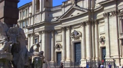 Zoom out from the Sant'Agnese Church in Rome Stock Footage