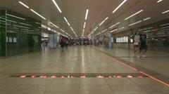 Entrance hall of underground metro station Stock Footage
