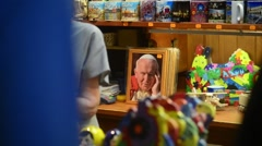 Portrait of Pope Gift Market on Market Square - Krakow, Poland Stock Footage