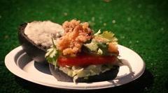 Calamari onto Sandwich - Slow Motion Stock Footage