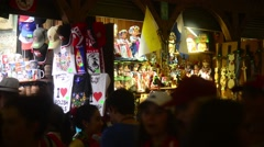 Croud of tourists in Gift Market on Market Square - Krakow, Poland Stock Footage