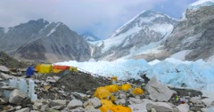 View of the Everest Base Camp on the Khumbu Glacier - Nepal, Himalaya. Stock Footage
