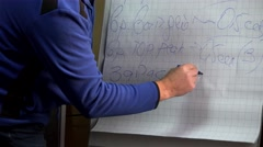 Presenter writes on a flipchart paper. Working in the office. Stock Footage