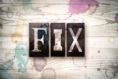 Fix Concept Metal Letterpress Type Stock Illustration