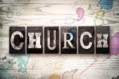 Church Concept Metal Letterpress Type Stock Illustration