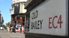Old Bailey London EC4, central Criminal Courts, Road Sign Stock Footage