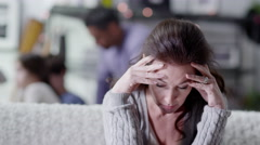 4K A woman is upset and stressed about her life Stock Footage