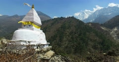 View in Himalayas, stupa, Nepal, the trek to Everest base camp. Stock Footage