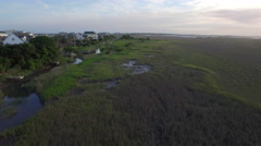 Folly Beach Aerial of Ocean and Marshes Stock Footage