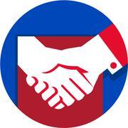 Business Deal Handshake Circle Retro Stock Illustration