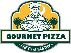 Gourmet Pizza Chef Palmetto Trees Shield Retro Stock Illustration