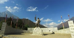 Monument Tenzing Norgay in Namche Bazaar, Nepal, the trek to Everest Azov camp. Stock Footage