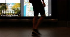 Commuters Walk Past Subway Map Display in New York City 4K Stock Video Stock Footage