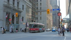 Passengers Getting On Toronto TTC Public Transit Streetcar Traffic Intersection Stock Footage