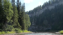 Rocky Mountain Landscape near the river, Russia, Ural Stock Footage