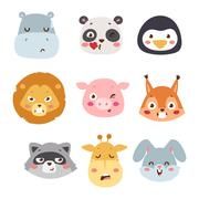 Animal emotion avatar vector illustration icon Stock Illustration