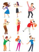 Singing people vector set Stock Illustration