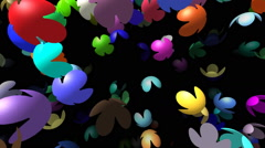 Flying flowers generated 3D video Stock Footage