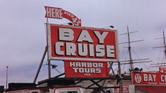 San Francisco Bay Cruise Harbor Tour Sign Pier 43 1950s Stock Footage