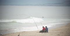 People Fishing on California Beach 4k Stock Video Stock Footage