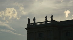 Sunset clouds fly over the roof of Natural History Museum in Vienna Stock Footage