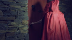 4k Halloween Shot of Red Riding Hood Exiting the Granny's House Stock Footage
