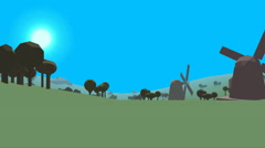 Low poly retro style landscape Stock Footage