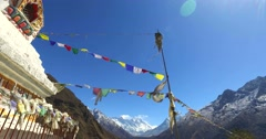 View of the ruined Buddhist stupa in the Himalayas, Nepal. Stock Footage