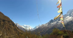 View near Namche Bazaar trek to the base camp of Mount Everest. Stock Footage