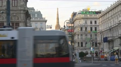 Beautiful old architecture of Vienna on busy street Stock Footage