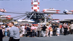Disneyland Yesterland TWA Rocket to the Moon Ride Liftoff 1950s Stock Footage