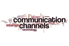 Communication channels word cloud Stock Illustration