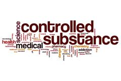 Controlled substance word cloud Stock Illustration