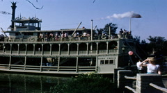 Disneyland Mark Twain Riverboat 1950s Stock Footage
