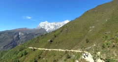 View near Namche Bazaar trek to the base camp of Mount Everest, Himalaya, Nepal. Stock Footage