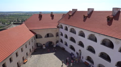 Red Slate Roofs of the Courtyard of Castle Stock Footage