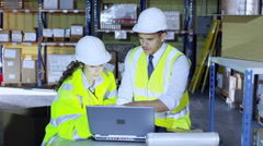 One male and one female warehouse worker in hard hats and hi visibility clothing Stock Footage