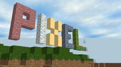 Cube pixel world generated video Stock Footage