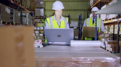 2 warehouse employees are discussing stock and storage requirements Stock Footage