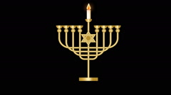 Hanukkah video  with luxury nine branched candle holder,  flames lighting up Stock Footage