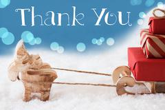 Reindeer, Sled, Light Blue Background, Text Thank You Stock Photos