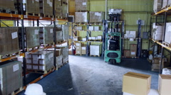 Male and female warehouse workers are moving boxes around Stock Footage