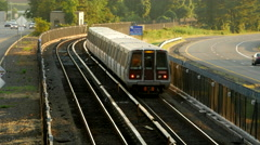 Beltway traffic train day Stock Footage